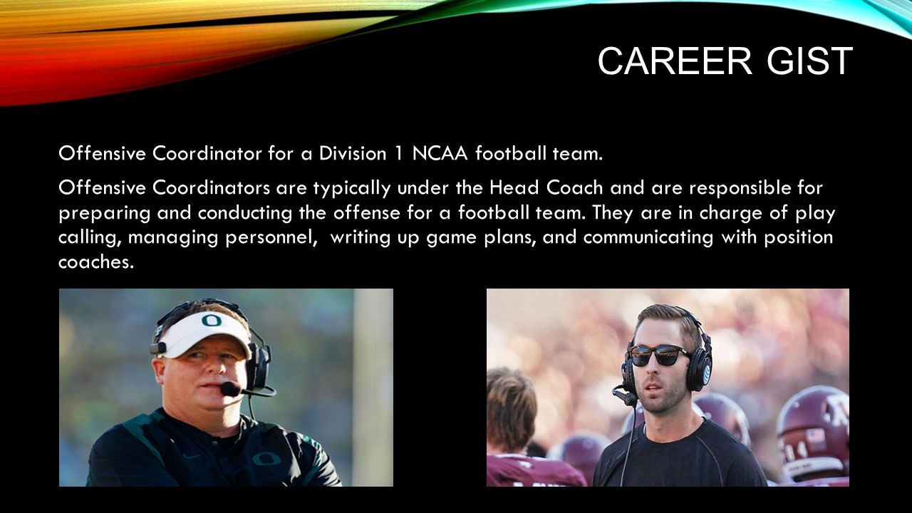 WHY.I have several reasons why I want to be a NCAA O.C… I have always loved football.