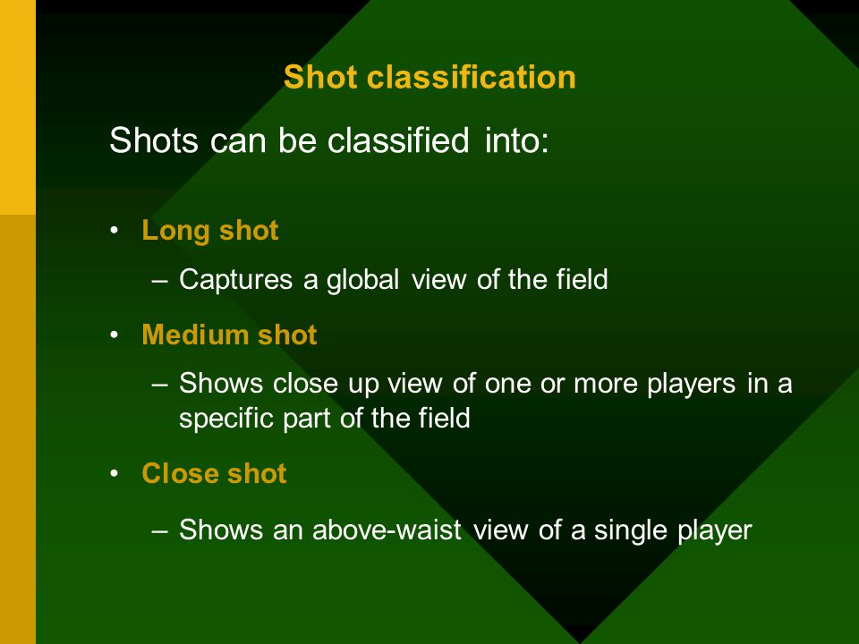 Shots can be classified into: Long shot –Captures a global view of the field Medium shot –Shows close up view of one or more players in a specific part of the field Close shot –Shows an above-waist view of a single player Shot classification