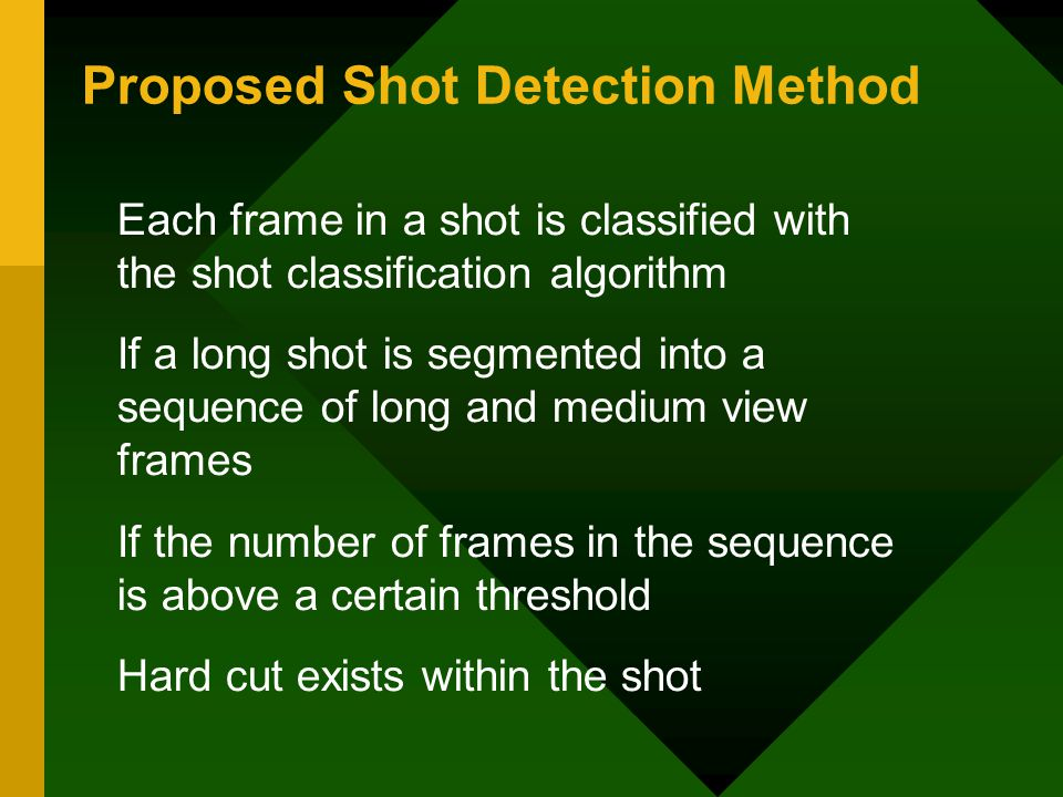 Proposed Shot Detection Method Each frame in a shot is classified with the shot classification algorithm If a long shot is segmented into a sequence of long and medium view frames If the number of frames in the sequence is above a certain threshold Hard cut exists within the shot