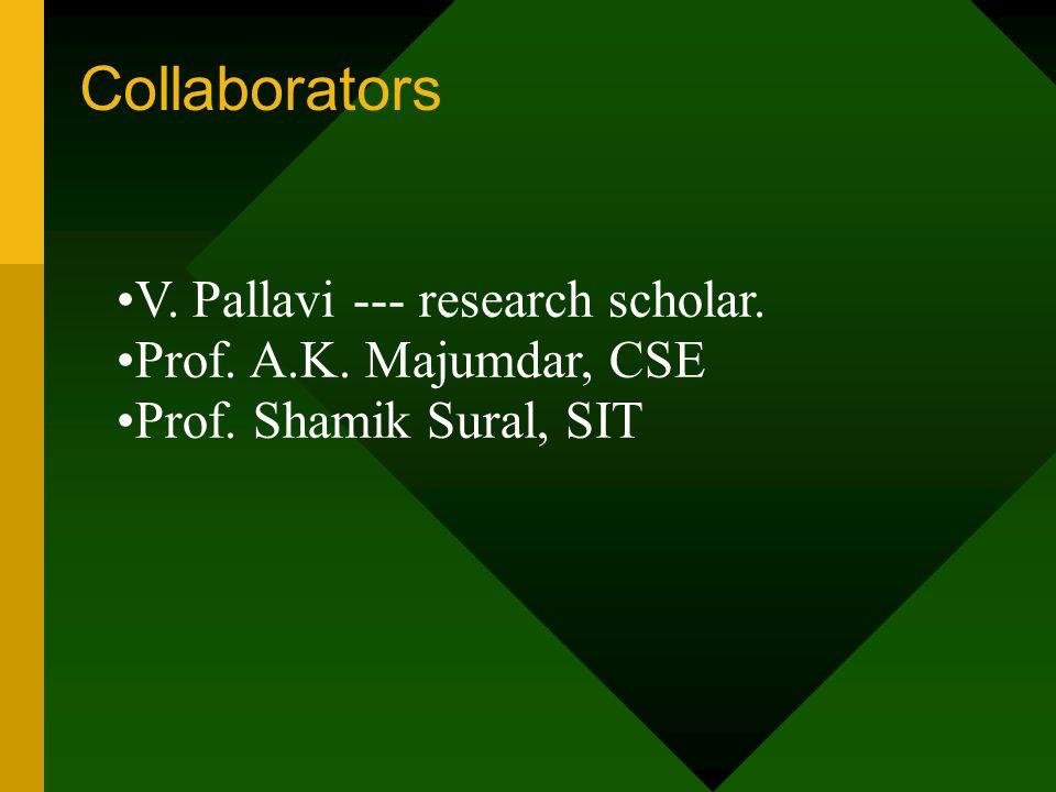 Collaborators V. Pallavi --- research scholar. Prof. A.K. Majumdar, CSE Prof. Shamik Sural, SIT