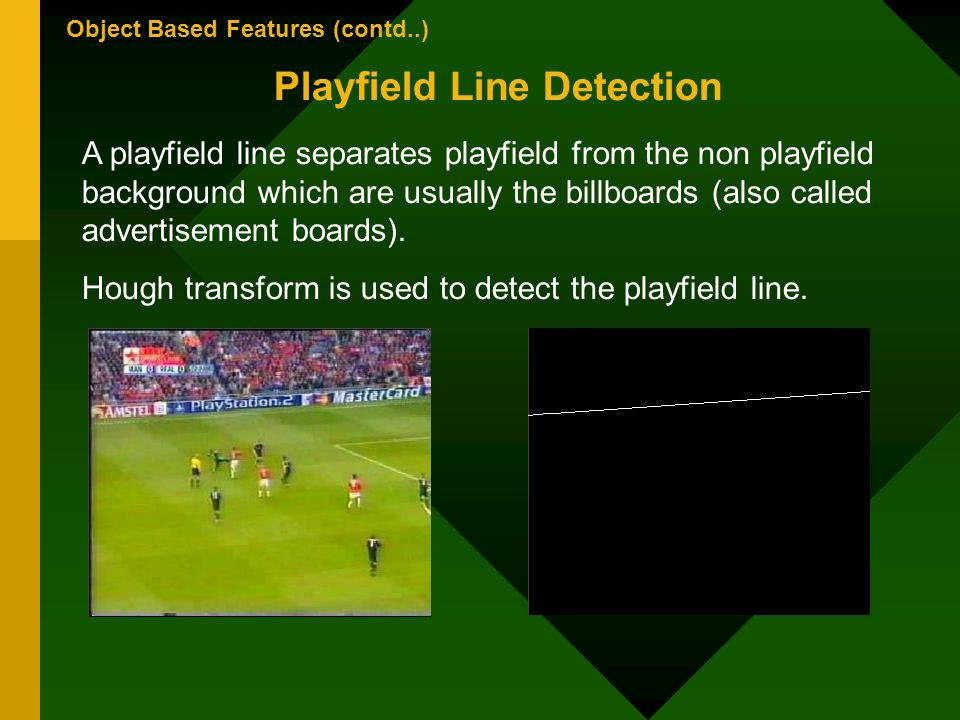 Object Based Features (contd..) Playfield Line Detection A playfield line separates playfield from the non playfield background which are usually the billboards (also called advertisement boards).
