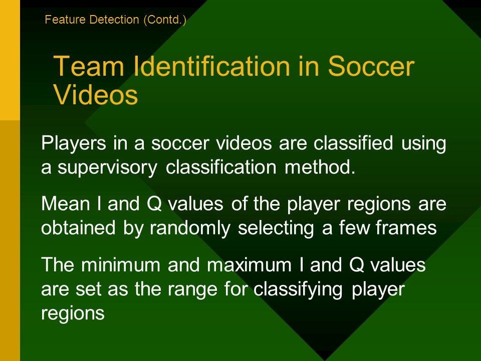 Team Identification in Soccer Videos Players in a soccer videos are classified using a supervisory classification method.