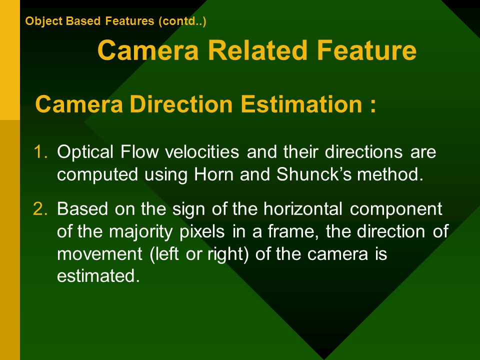 Camera Related Feature Object Based Features (contd..) Camera Direction Estimation : 1.Optical Flow velocities and their directions are computed using Horn and Shuncks method.