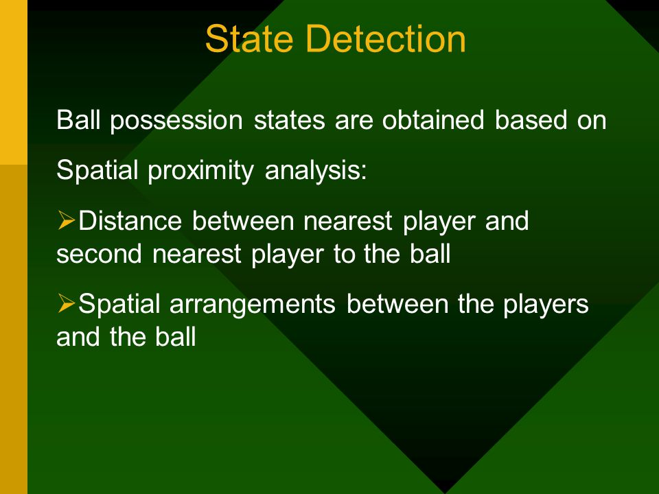 State Detection Ball possession states are obtained based on Spatial proximity analysis: Distance between nearest player and second nearest player to the ball Spatial arrangements between the players and the ball