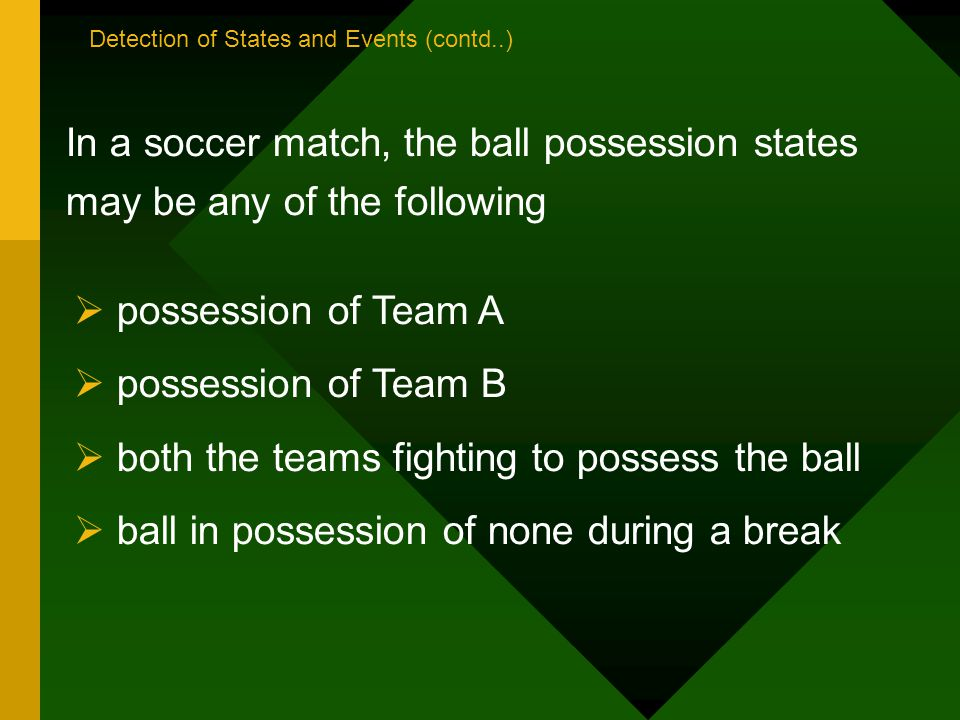 In a soccer match, the ball possession states may be any of the following possession of Team A possession of Team B both the teams fighting to possess the ball ball in possession of none during a break Detection of States and Events (contd..)