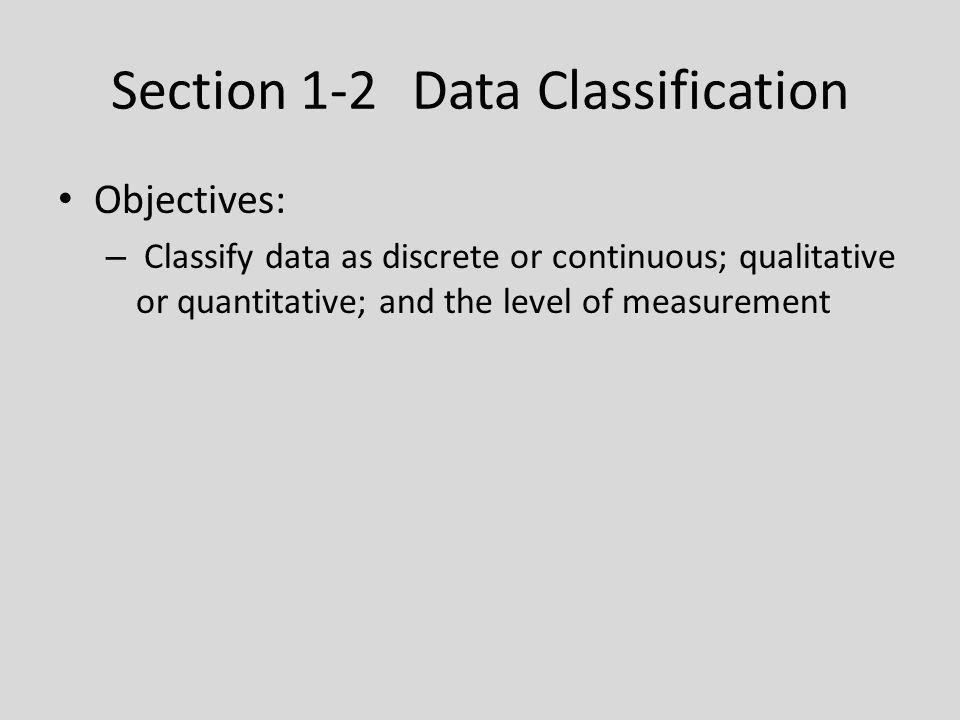 Section 1-2 Data Classification Objectives: – Classify data as discrete or continuous; qualitative or quantitative; and the level of measurement