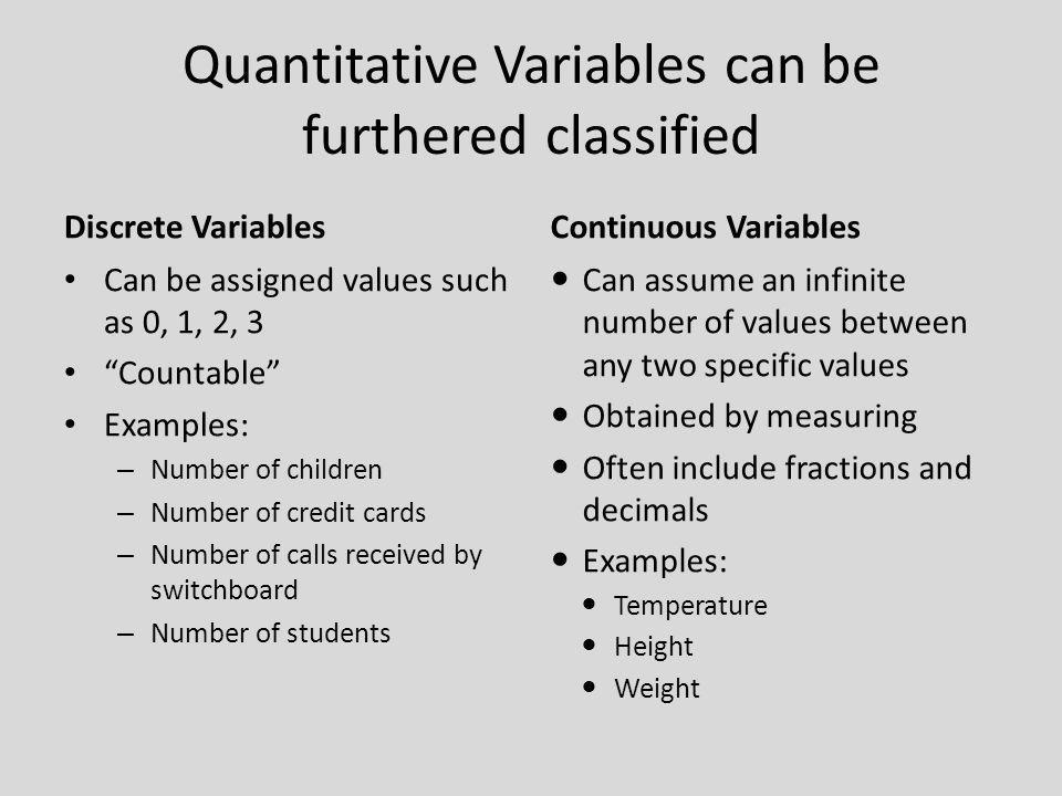 Quantitative Variables can be furthered classified Discrete Variables Can be assigned values such as 0, 1, 2, 3 Countable Examples: – Number of childr