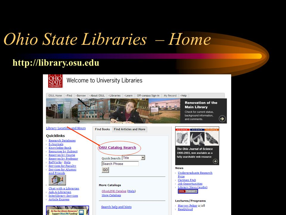Ohio State Libraries – Home http://library.osu.edu