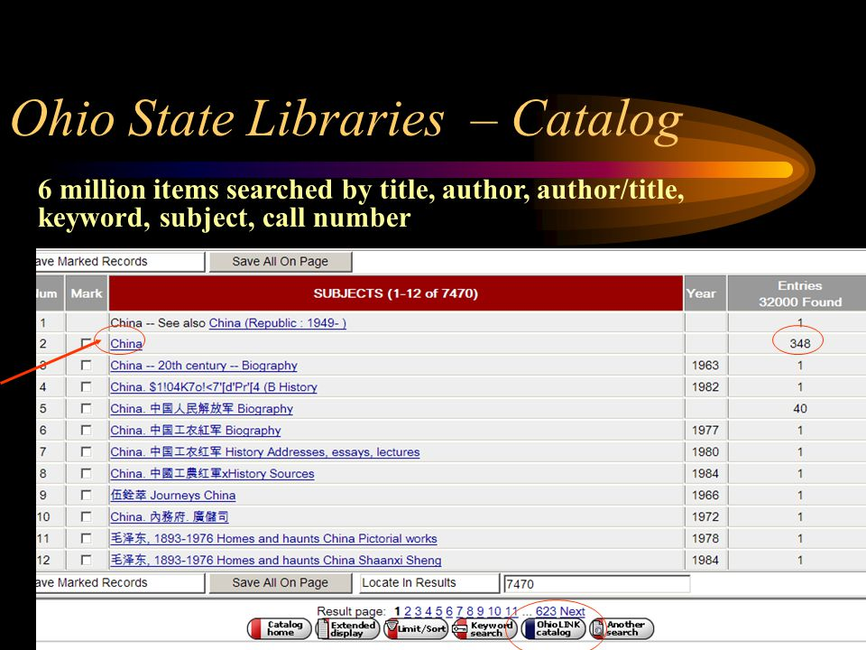 Ohio State Libraries – Catalog 6 million items searched by title, author, author/title, keyword, subject, call number