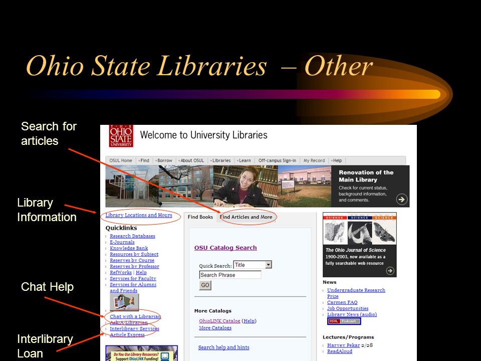 Ohio State Libraries – Other Search for articles Chat Help Interlibrary Loan Library Information