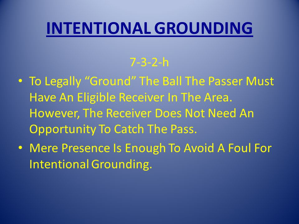 INTENTIONAL GROUNDING 7-3-2-h To Legally Ground The Ball The Passer Must Have An Eligible Receiver In The Area.