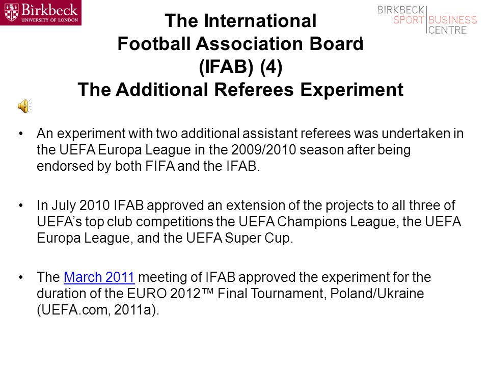 The International Football Association Board (IFAB) (3) Changes to the Laws of the Game Any national association can submit proposed changes to the rules to the IFAB.