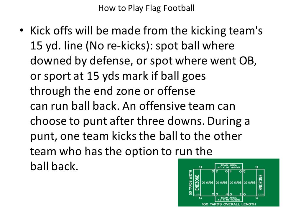 A down begins with one player on the offensive team (the center) hiking the ball to another player on the offensive team called the quarterback.