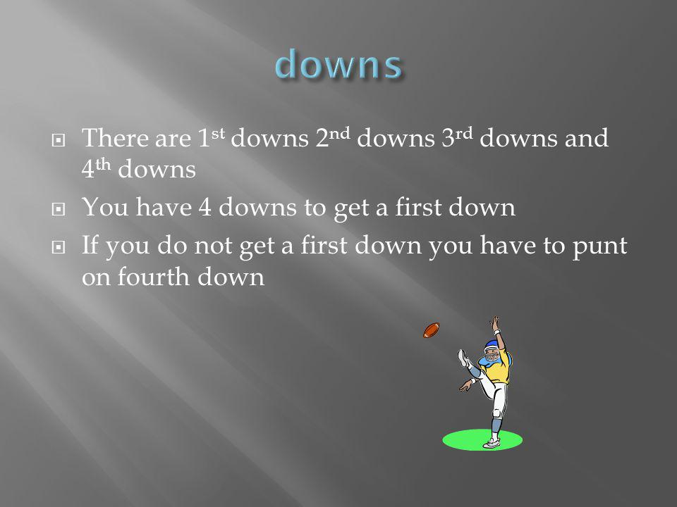 There are 1 st downs 2 nd downs 3 rd downs and 4 th downs You have 4 downs to get a first down If you do not get a first down you have to punt on fourth down