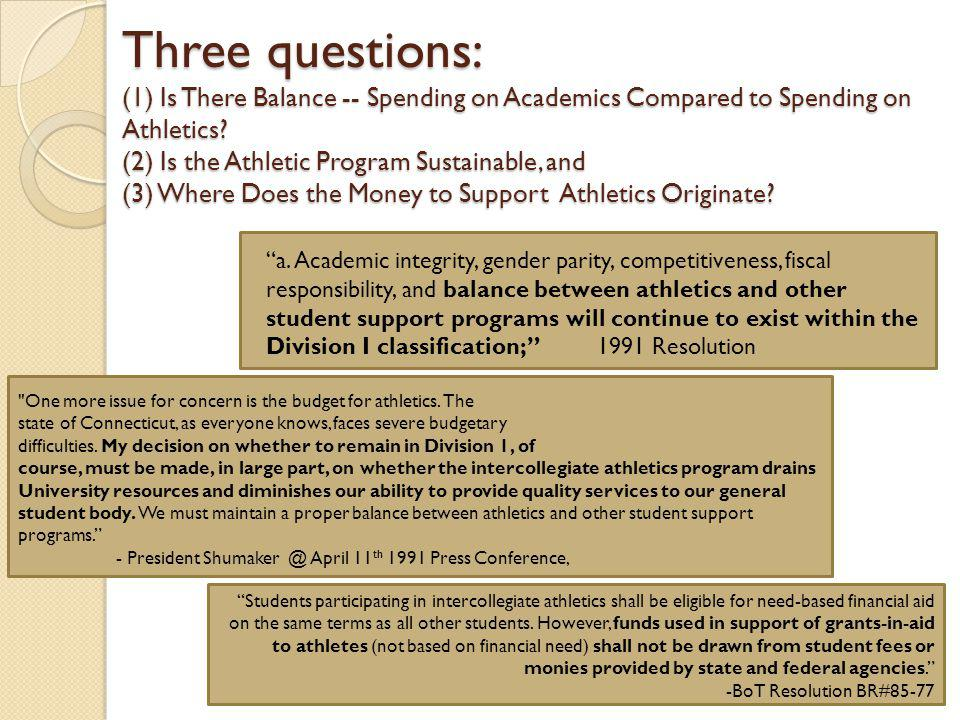 Three questions: (1) Is There Balance -- Spending on Academics Compared to Spending on Athletics.