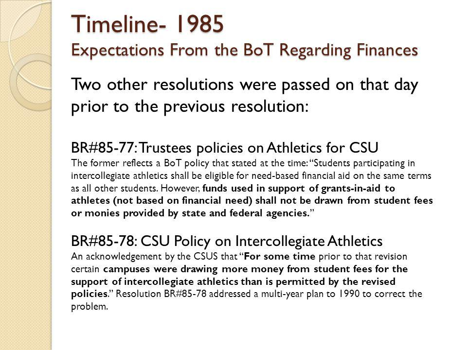 Timeline- 1985 Expectations From the BoT Regarding Finances Two other resolutions were passed on that day prior to the previous resolution: BR#85-77: Trustees policies on Athletics for CSU The former reflects a BoT policy that stated at the time: Students participating in intercollegiate athletics shall be eligible for need-based financial aid on the same terms as all other students.