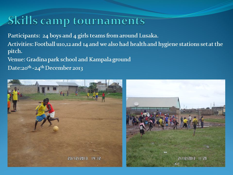 Participants: 24 boys and 4 girls teams from around Lusaka. Activities: Football u10,12 and 14 and we also had health and hygiene stations set at the