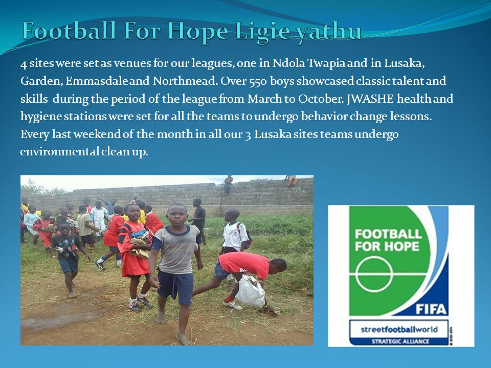 4 sites were set as venues for our leagues, one in Ndola Twapia and in Lusaka, Garden, Emmasdale and Northmead.
