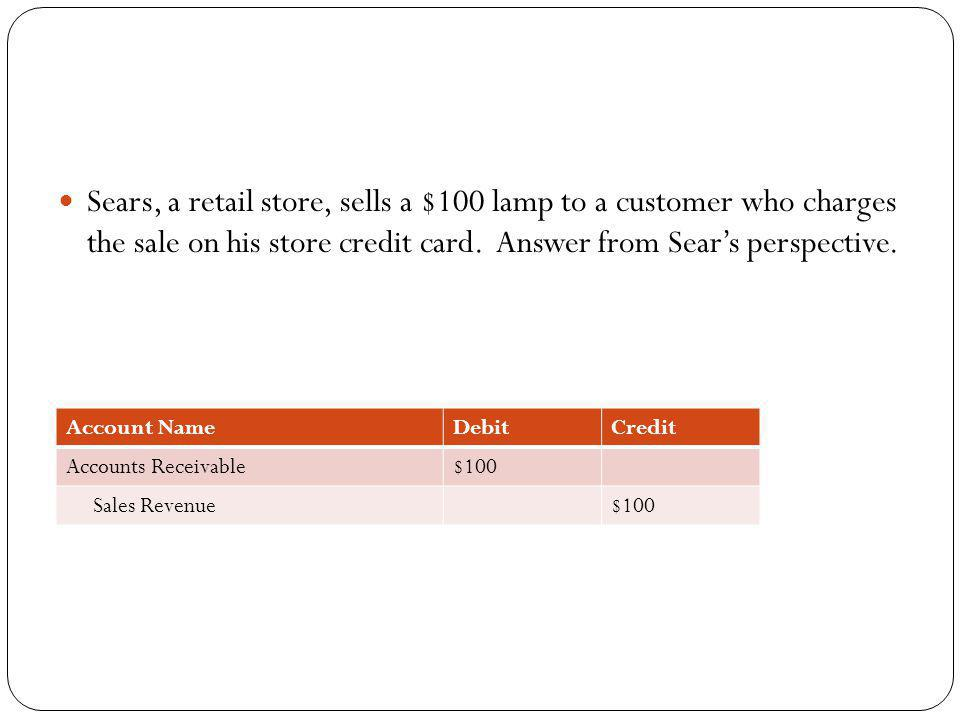 Sears, a retail store, sells a $100 lamp to a customer who charges the sale on his store credit card. Answer from Sears perspective. Account NameDebit
