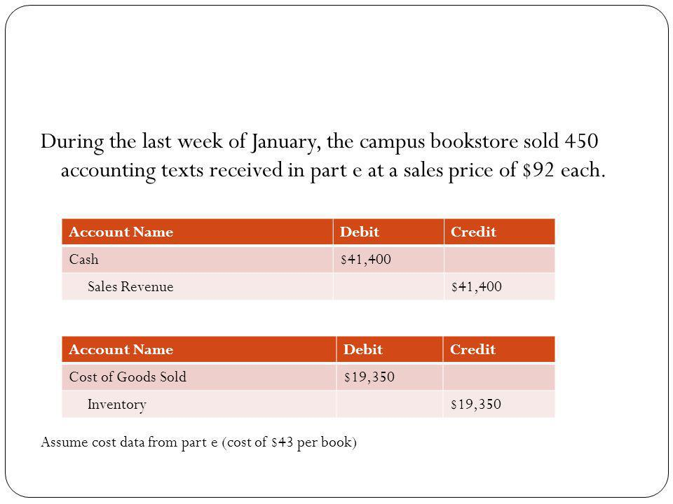 During the last week of January, the campus bookstore sold 450 accounting texts received in part e at a sales price of $92 each. Assume cost data from
