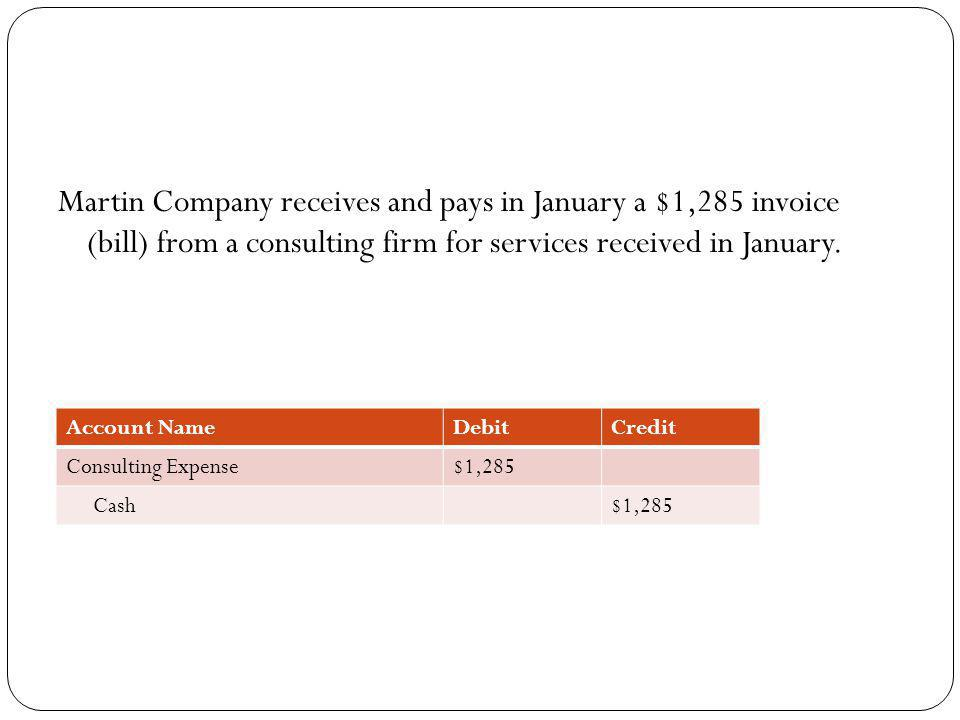 Martin Company receives and pays in January a $1,285 invoice (bill) from a consulting firm for services received in January. Account NameDebitCredit C
