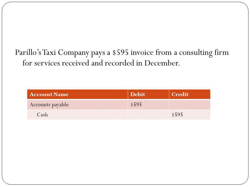 Parillos Taxi Company pays a $595 invoice from a consulting firm for services received and recorded in December. Account NameDebitCredit Accounts paya