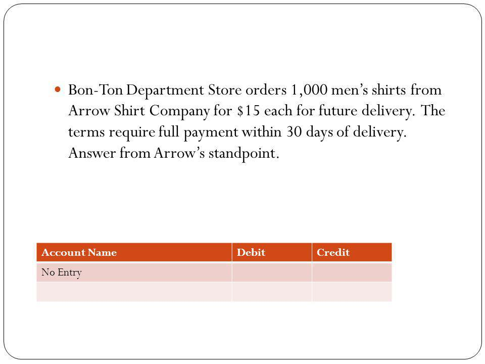 Bon-Ton Department Store orders 1,000 mens shirts from Arrow Shirt Company for $15 each for future delivery. The terms require full payment within 30