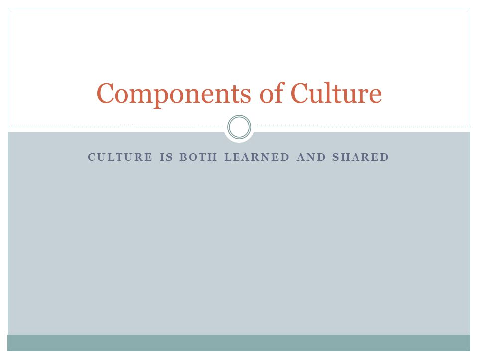 CULTURE IS BOTH LEARNED AND SHARED Components of Culture