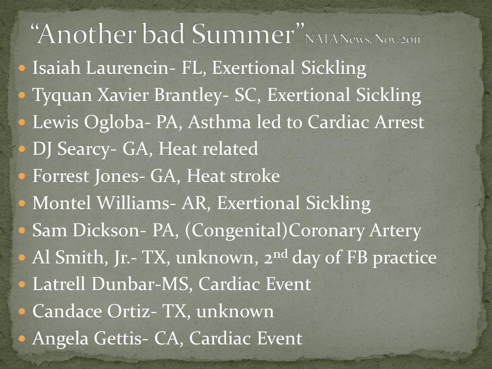 Isaiah Laurencin- FL, Exertional Sickling Tyquan Xavier Brantley- SC, Exertional Sickling Lewis Ogloba- PA, Asthma led to Cardiac Arrest DJ Searcy- GA
