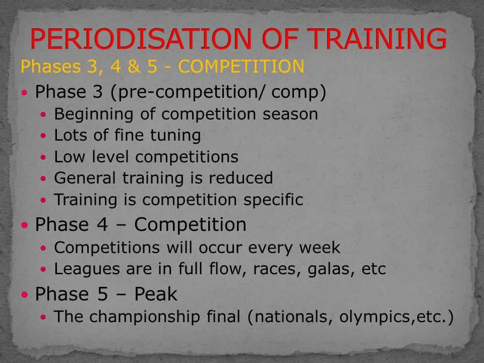 Phases 3, 4 & 5 - COMPETITION Phase 3 (pre-competition/ comp) Beginning of competition season Lots of fine tuning Low level competitions General train