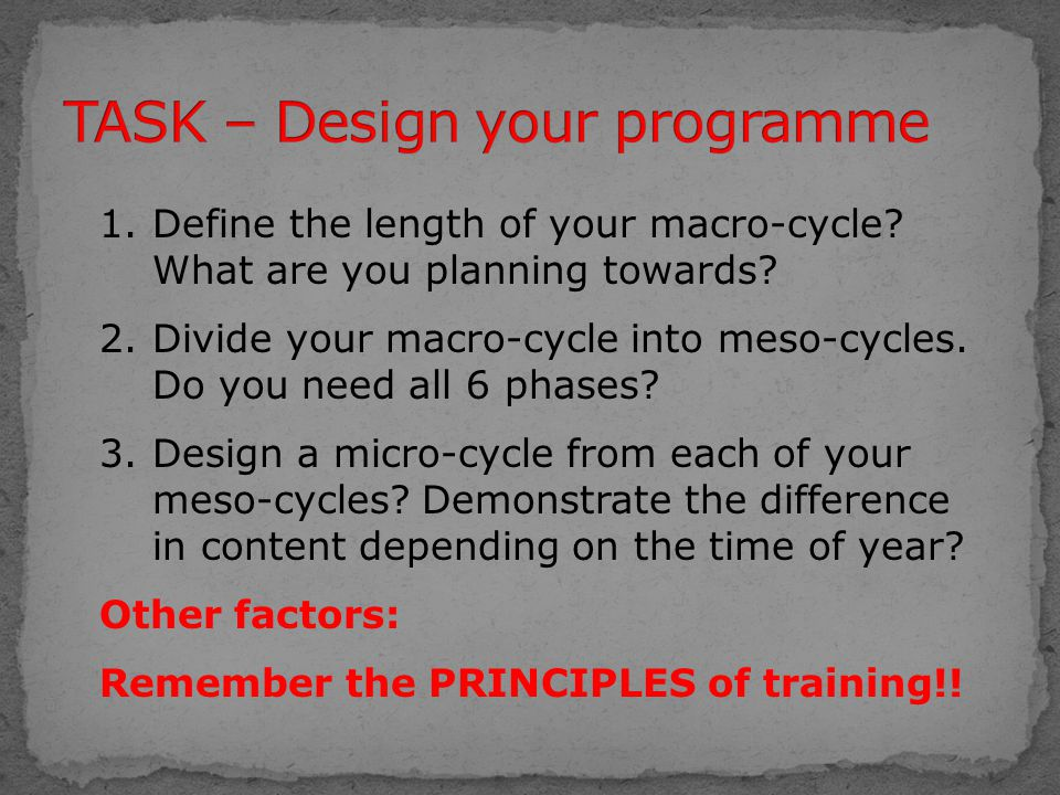 1.Define the length of your macro-cycle? What are you planning towards? 2.Divide your macro-cycle into meso-cycles. Do you need all 6 phases? 3.Design