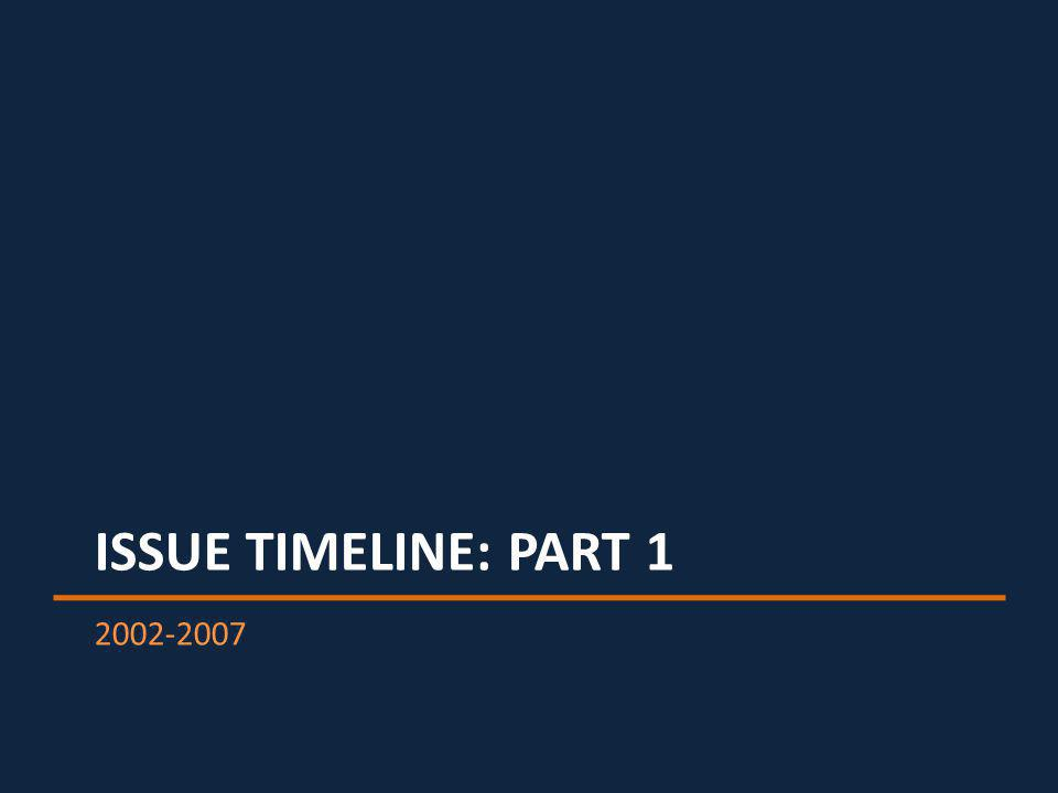 ISSUE TIMELINE: PART 1 2002-2007