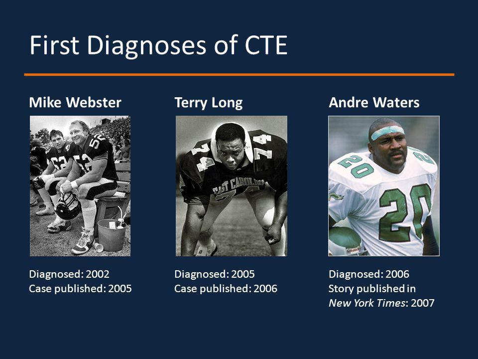 First Diagnoses of CTE Mike WebsterTerry Long Diagnosed: 2002 Case published: 2005 Diagnosed: 2005 Case published: 2006 Andre Waters Diagnosed: 2006 Story published in New York Times: 2007