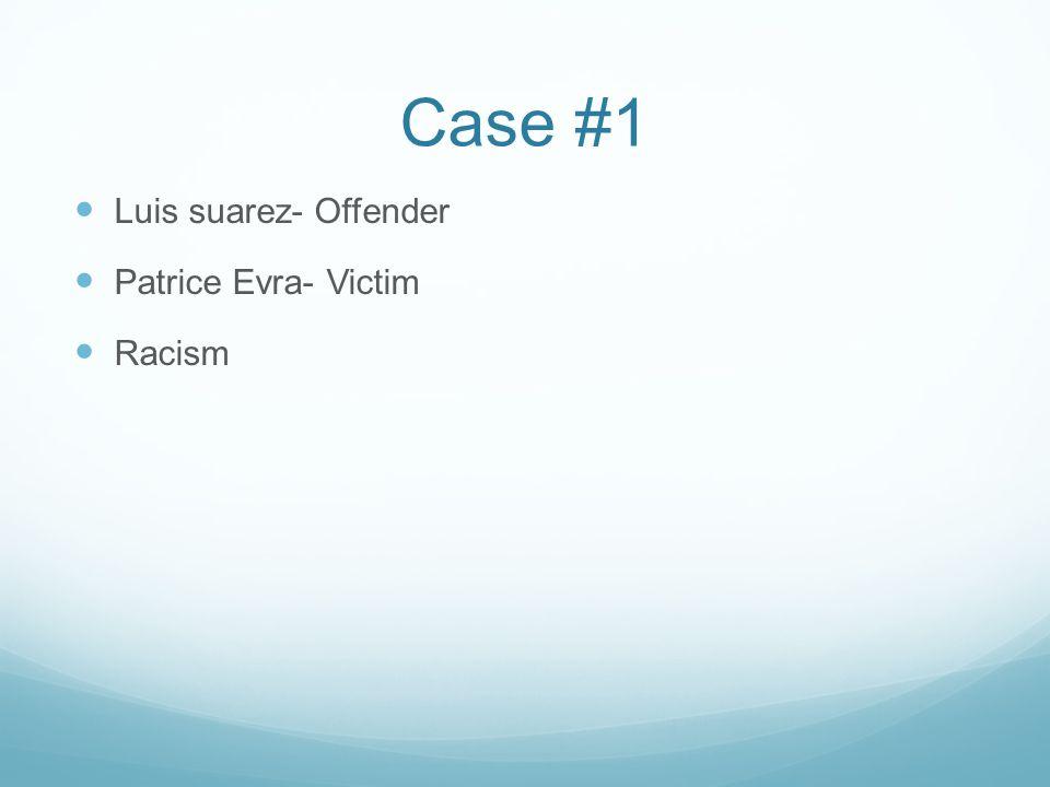 Case #1 Luis suarez- Offender Patrice Evra- Victim Racism