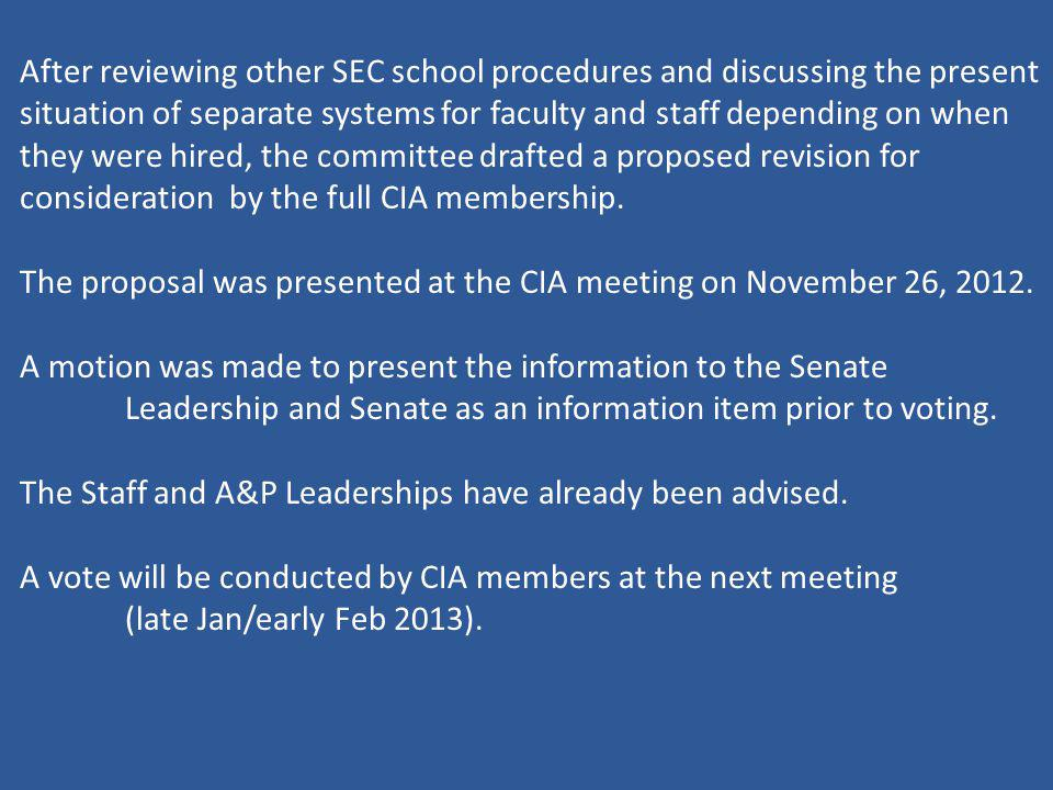 After reviewing other SEC school procedures and discussing the present situation of separate systems for faculty and staff depending on when they were hired, the committee drafted a proposed revision for consideration by the full CIA membership.