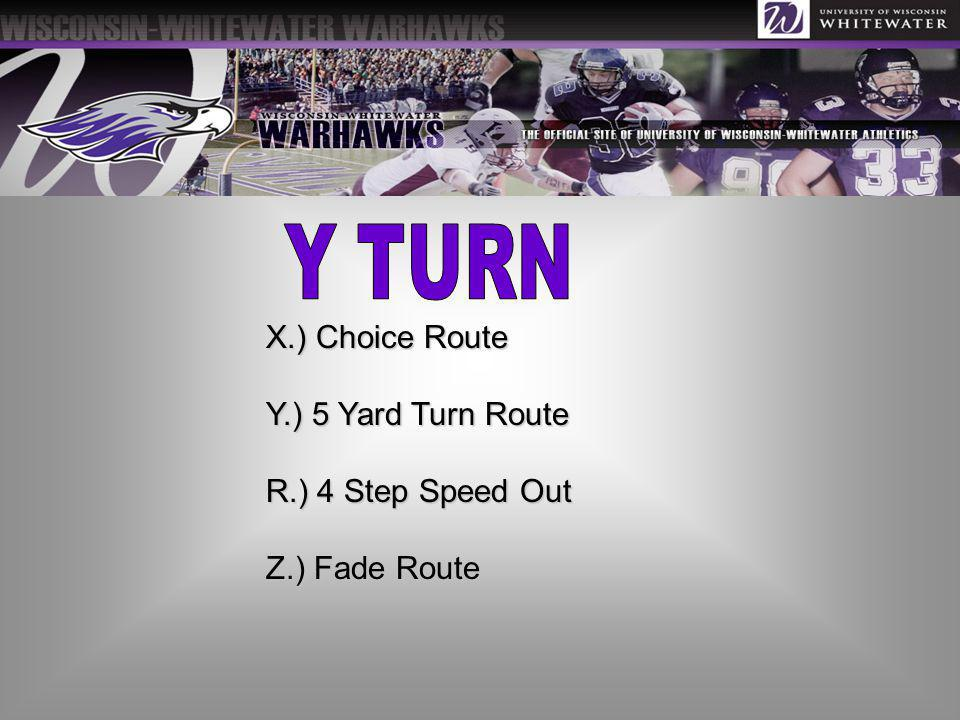 X.) Choice Route Y.) 5 Yard Turn Route R.) 4 Step Speed Out Z.) Fade Route