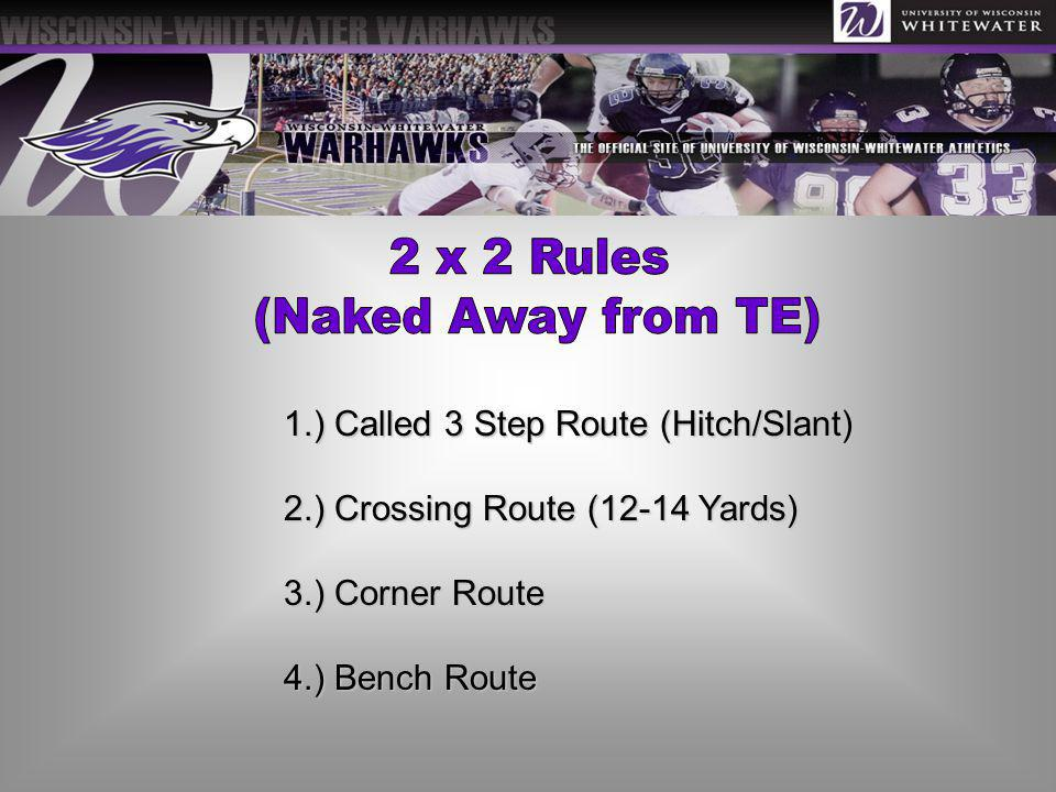 1.) Called 3 Step Route (Hitch/Slant) 2.) Crossing Route (12-14 Yards) 3.) Corner Route 4.) Bench Route
