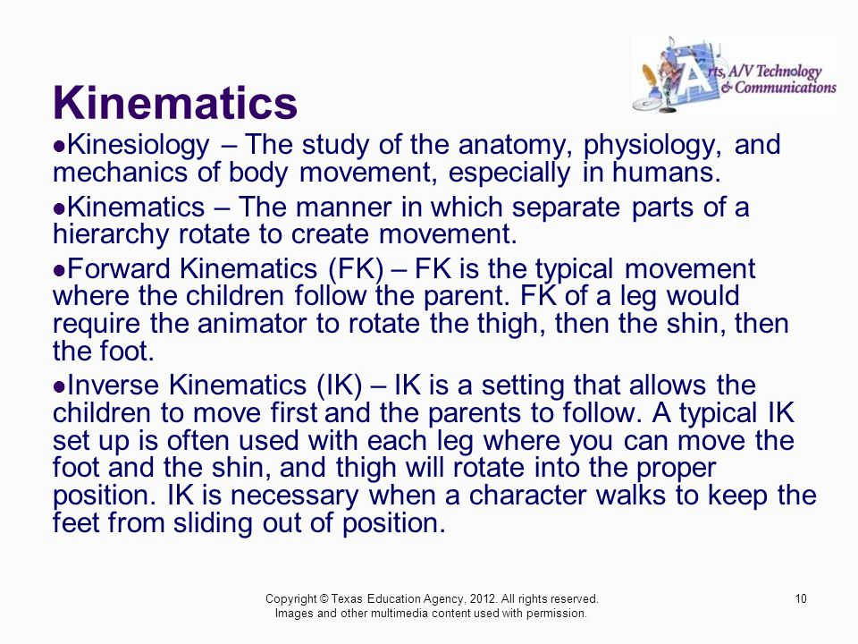 Kinematics Kinesiology – The study of the anatomy, physiology, and mechanics of body movement, especially in humans.
