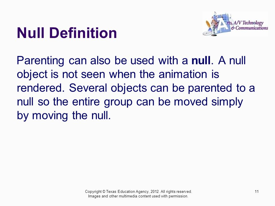 Null Definition Parenting can also be used with a null.