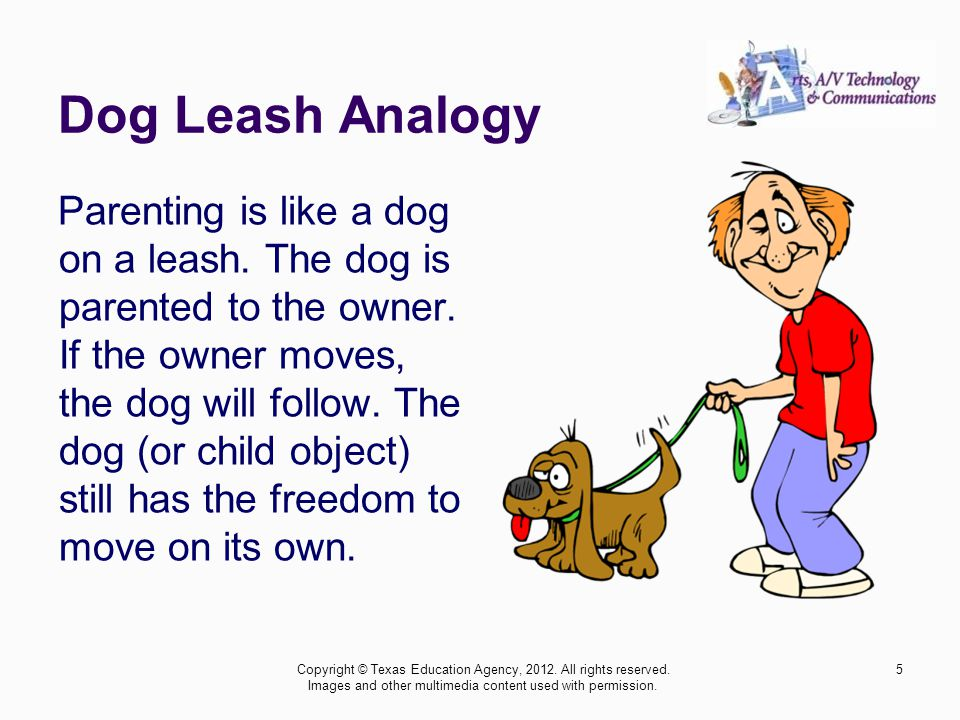 Dog Leash Analogy Parenting is like a dog on a leash.