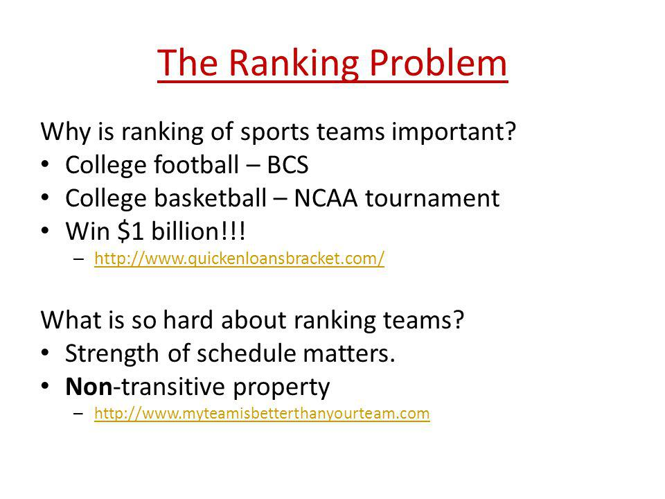 The Ranking Problem Why is ranking of sports teams important? College football – BCS College basketball – NCAA tournament Win $1 billion!!! – http://w
