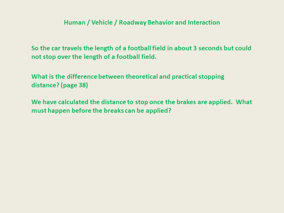 Human / Vehicle / Roadway Behavior and Interaction So the car travels the length of a football field in about 3 seconds but could not stop over the le