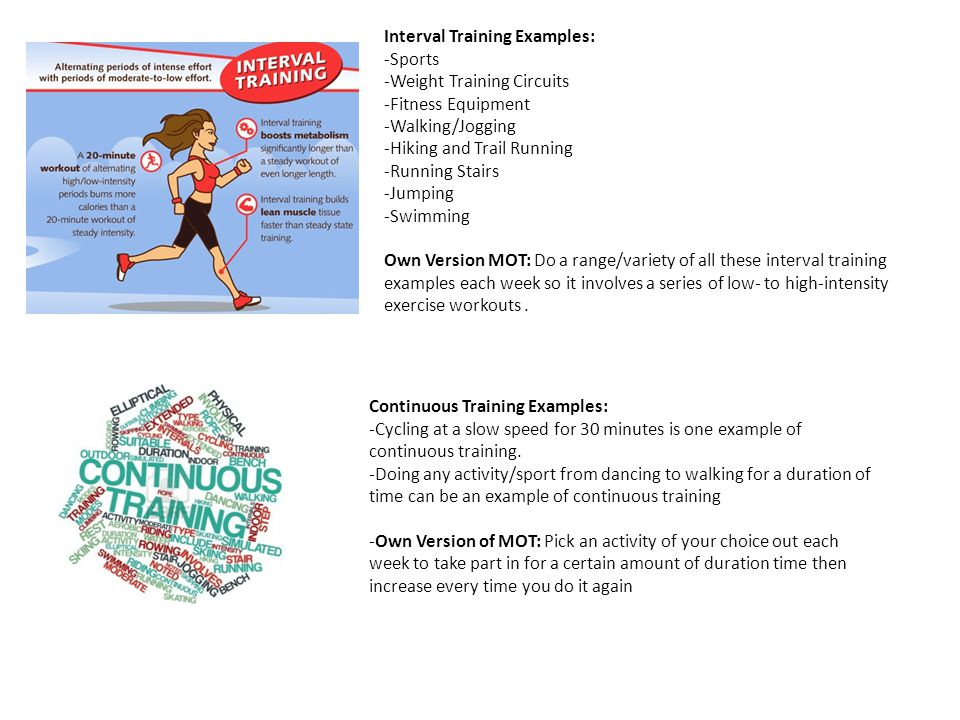 Interval Training Examples: -Sports -Weight Training Circuits -Fitness Equipment -Walking/Jogging -Hiking and Trail Running -Running Stairs -Jumping -