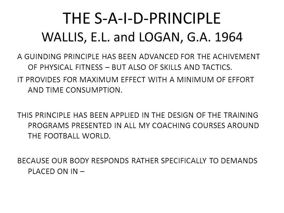 THE S-A-I-D-PRINCIPLE WALLIS, E.L. and LOGAN, G.A.