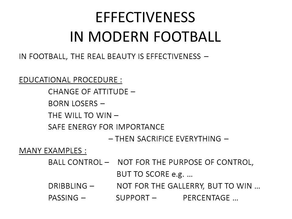 EFFECTIVENESS IN MODERN FOOTBALL GOAL SHOOTING (WC 1998) : COMPETITIVE GOALS SHOT TRAINNINGS IS THE CONSEQUENCE.
