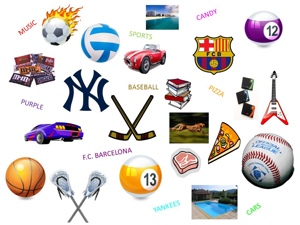 PIZZA PURPLE SPORTS CARS MUSIC YANKEES F.C. BARCELONA BASEBALL CANDY