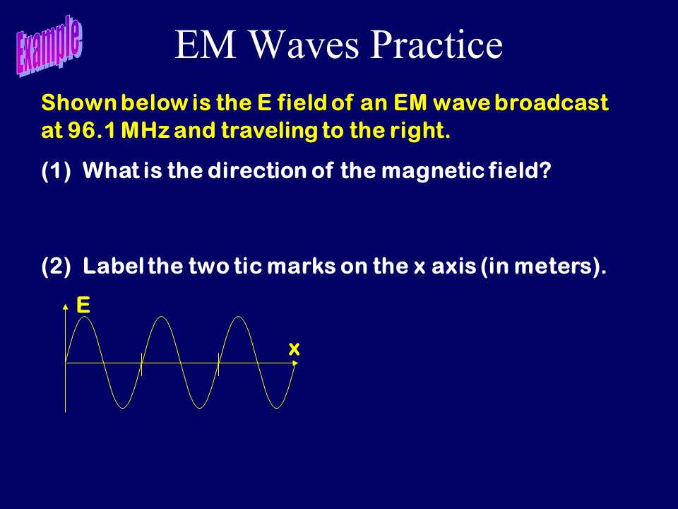 EM Waves Practice E x Shown below is the E field of an EM wave broadcast at 96.1 MHz and traveling to the right. (1) What is the direction of the magn