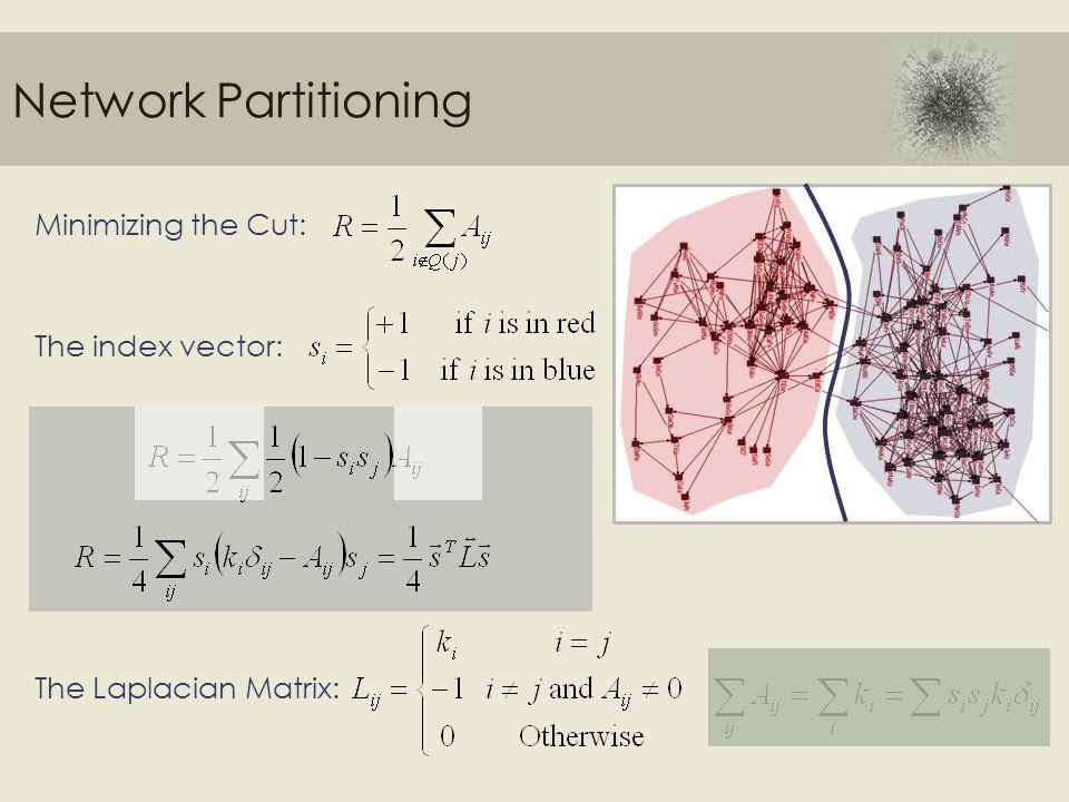 Network Partitioning Minimizing the Cut: The index vector: The Laplacian Matrix:
