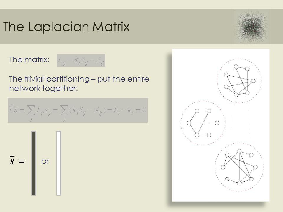 The Laplacian Matrix The matrix: The trivial partitioning – put the entire network together: or