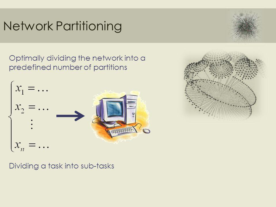 Network Partitioning Optimally dividing the network into a predefined number of partitions Dividing a task into sub-tasks